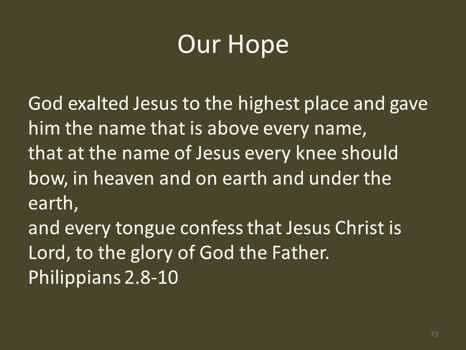 God exalted Jesus to the highest place and gave him the name that is above every name, that at the name of Jesus every knee should bow, in heaven and on earth and under the earth, and every tongue confess that Jesus Christ is Lord, to the glory of God the Father.