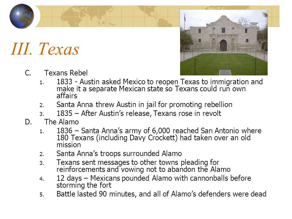 III. Texas C.Texans Rebel 1.