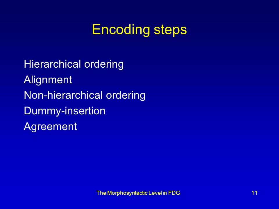 The Morphosyntactic Level in FDG11 Encoding steps Hierarchical ordering Alignment Non-hierarchical ordering Dummy-insertion Agreement
