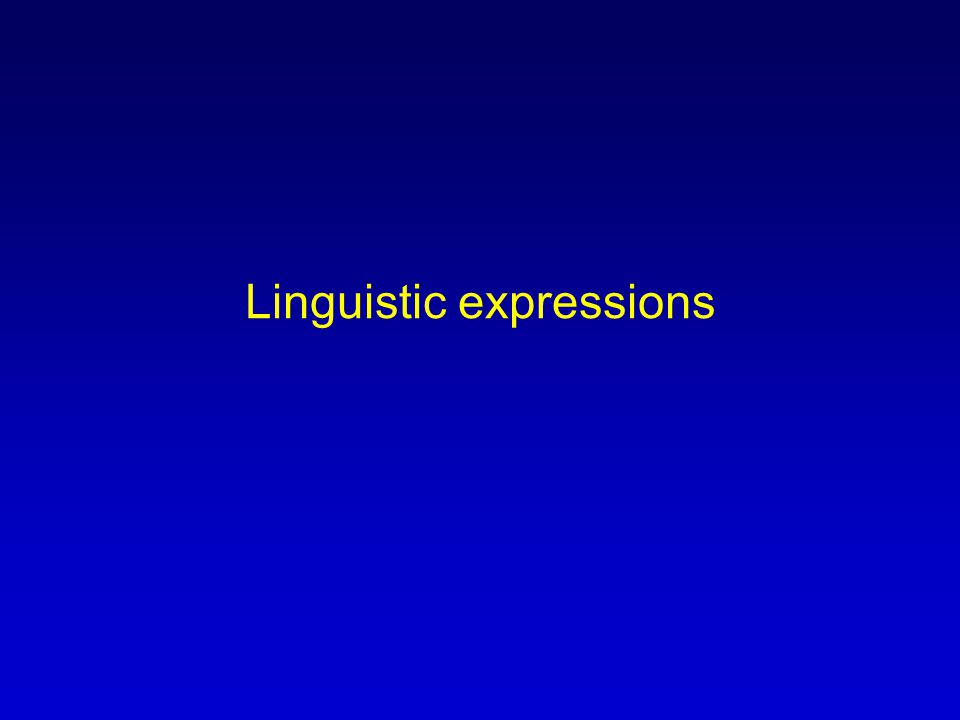 Linguistic expressions