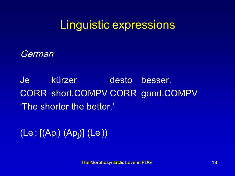 The Morphosyntactic Level in FDG13 Linguistic expressions German Je kürzer desto besser.
