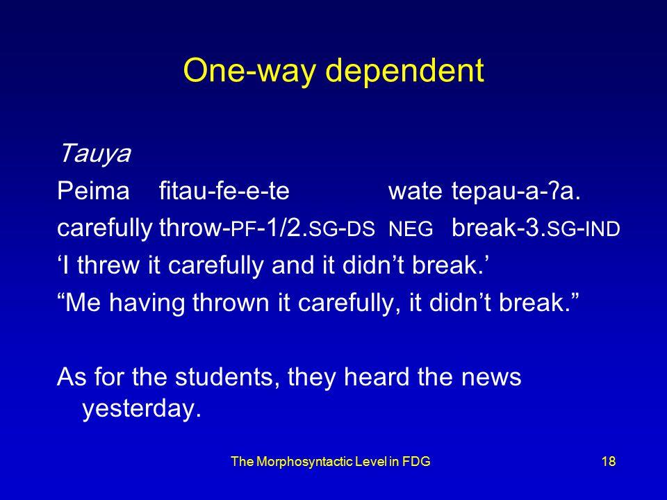 One-way dependent Tauya Peimafitau-fe-e-tewatetepau-a-ʔa.