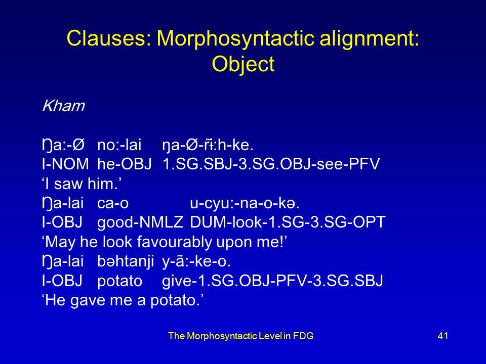 The Morphosyntactic Level in FDG41 Clauses: Morphosyntactic alignment: Object Kham Ŋa:-Øno:-laiŋa-Ø-rɨ̃:h-ke.