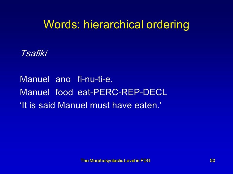 The Morphosyntactic Level in FDG50 Words: hierarchical ordering Tsafiki Manuelanofi-nu-ti-e.
