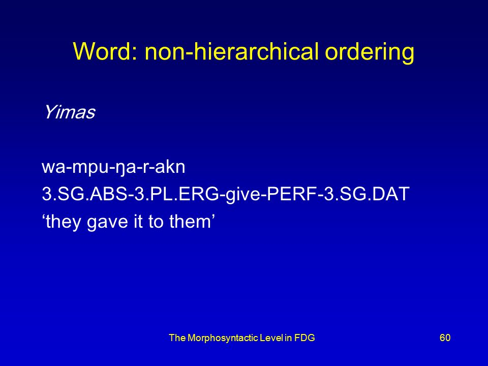 The Morphosyntactic Level in FDG60 Word: non-hierarchical ordering Yimas wa-mpu-ŋa-r-akn 3.SG.ABS-3.PL.ERG-give-PERF-3.SG.DAT 'they gave it to them'