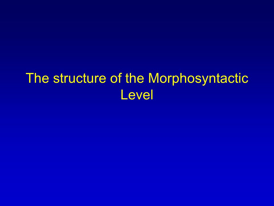 The structure of the Morphosyntactic Level