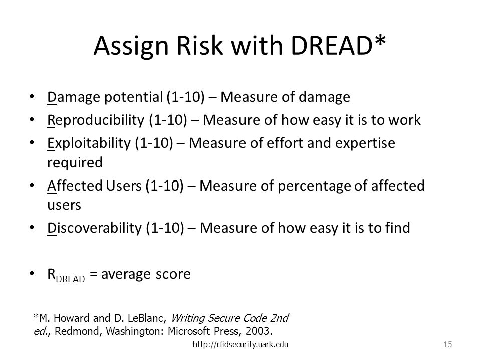 Assign Risk with DREAD* Damage potential (1-10) – Measure of damage Reproducibility (1-10) – Measure of how easy it is to work Exploitability (1-10) – Measure of effort and expertise required Affected Users (1-10) – Measure of percentage of affected users Discoverability (1-10) – Measure of how easy it is to find R DREAD = average score http://rfidsecurity.uark.edu 15 *M.