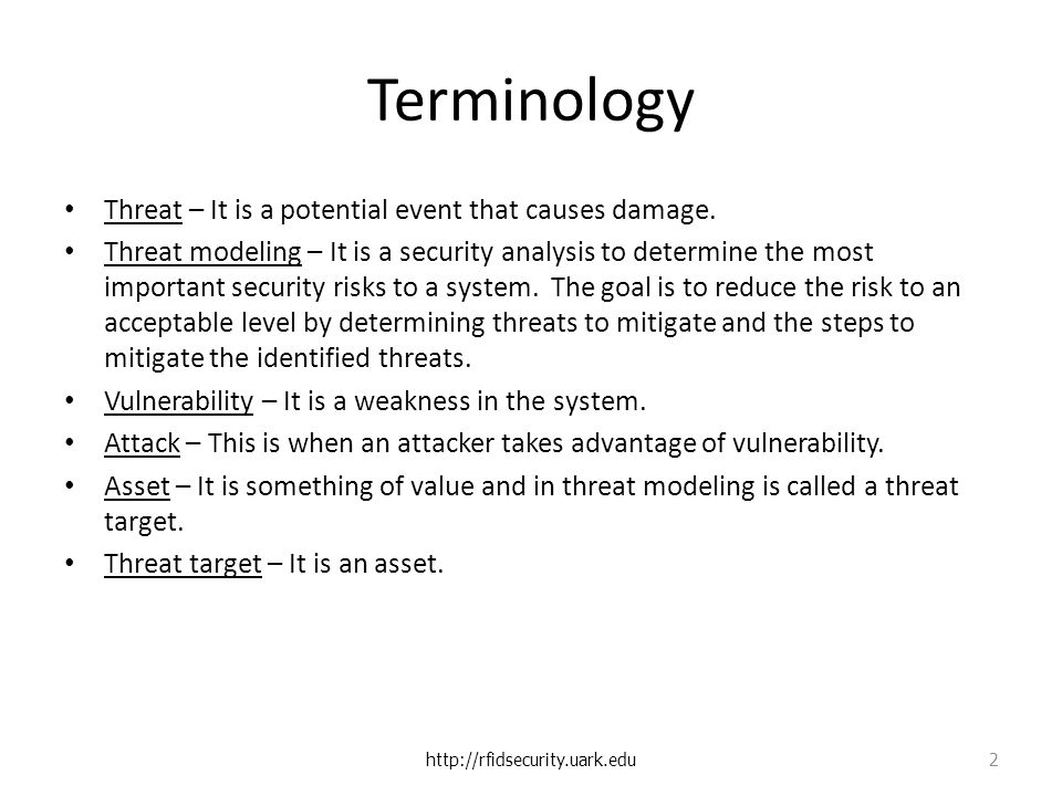 Terminology Threat – It is a potential event that causes damage.
