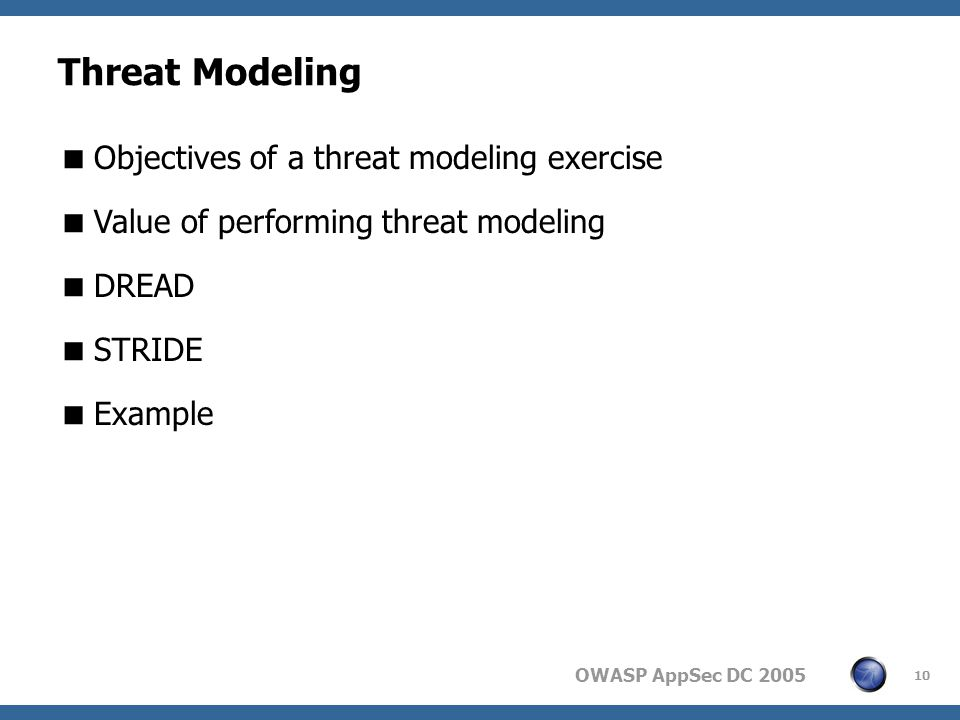 OWASP AppSec DC Threat Modeling  Objectives of a threat modeling exercise  Value of performing threat modeling  DREAD  STRIDE  Example