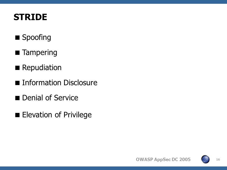 OWASP AppSec DC STRIDE  Spoofing  Tampering  Repudiation  Information Disclosure  Denial of Service  Elevation of Privilege