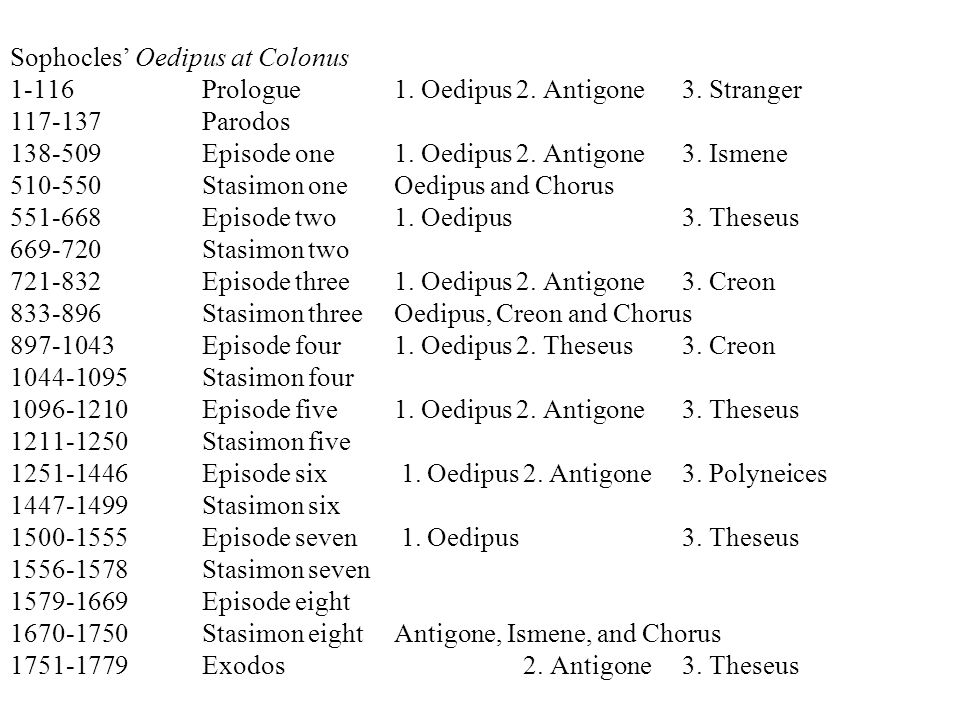 Sophocles' Oedipus at Colonus 1-116 Prologue1. Oedipus 2.