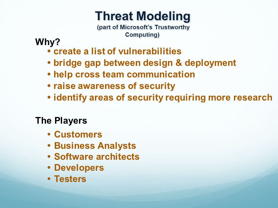Threat Modeling (part of Microsoft's Trustworthy Computing) Threat Modeling (part of Microsoft's Trustworthy Computing) Why.