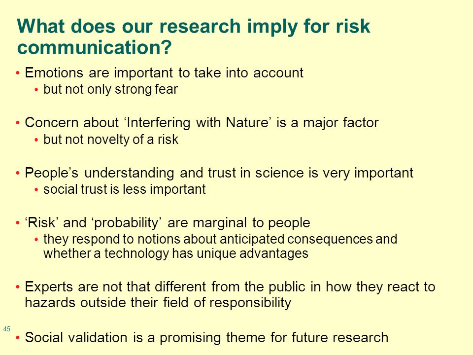 45 What does our research imply for risk communication? Emotions are important to take into account but not only strong fear Concern about 'Interferin