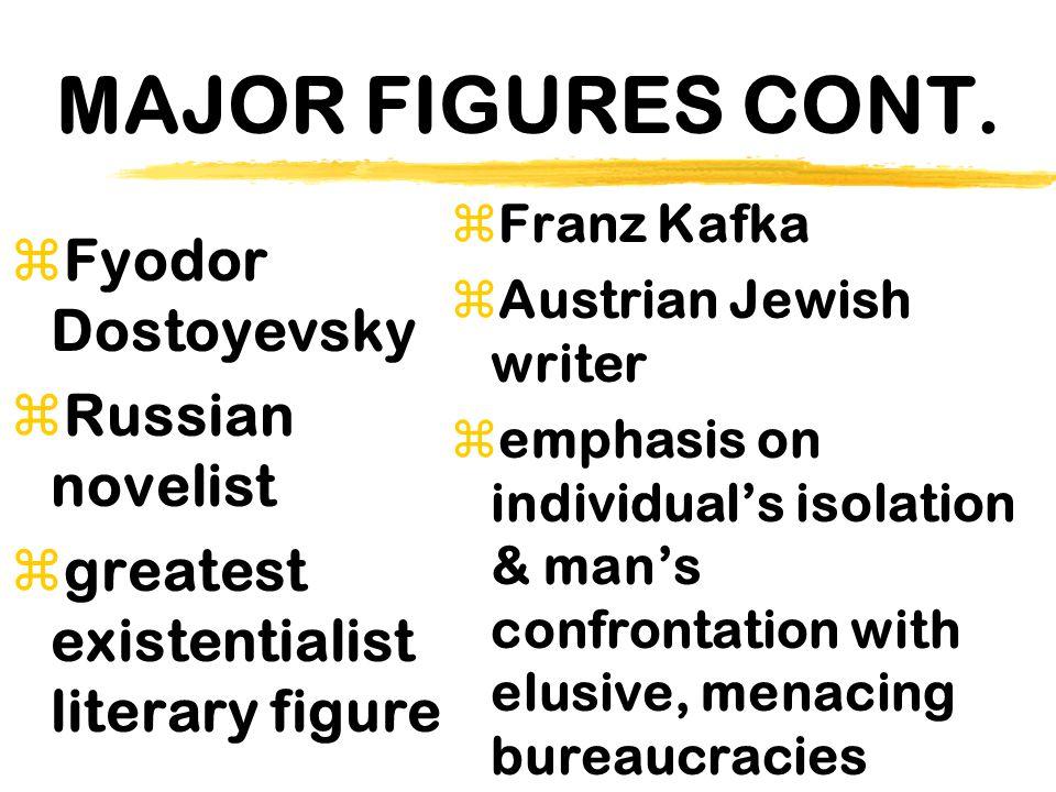 MAJOR FIGURES CONT. zFyodor Dostoyevsky zRussian novelist zgreatest existentialist literary figure zFranz Kafka zAustrian Jewish writer  emphasis on