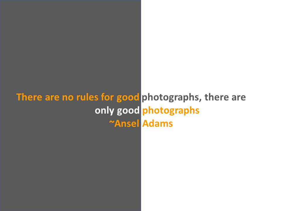 There are no rules for good photographs, there are only good photographs. ~Ansel Adams