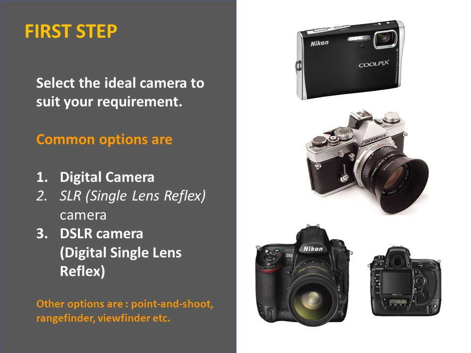 FIRST STEP Select the ideal camera to suit your requirement.