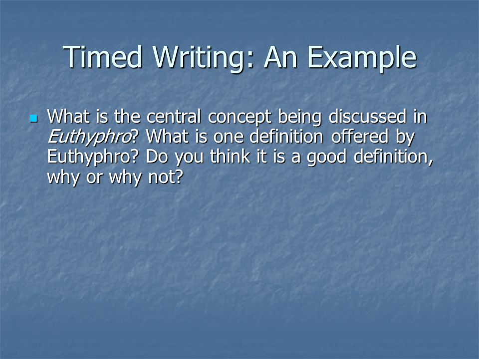 A Method for Defining a Concept A definition is not an example.