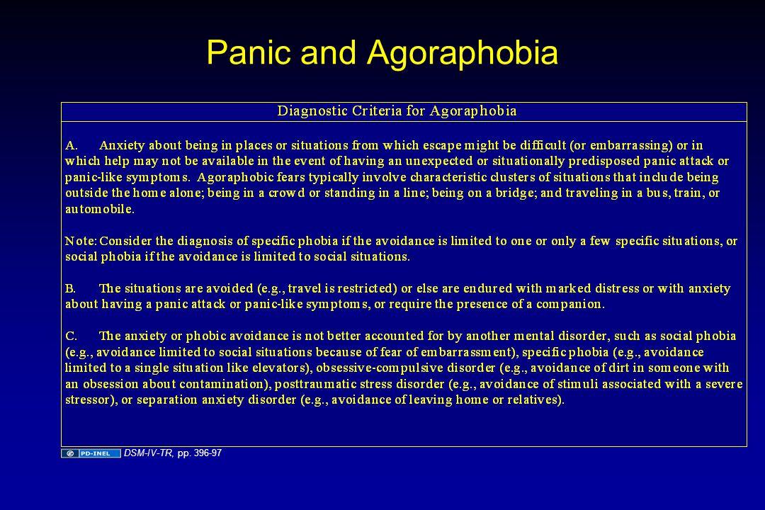 Panic and Agoraphobia DSM-IV-TR, pp. 396-97