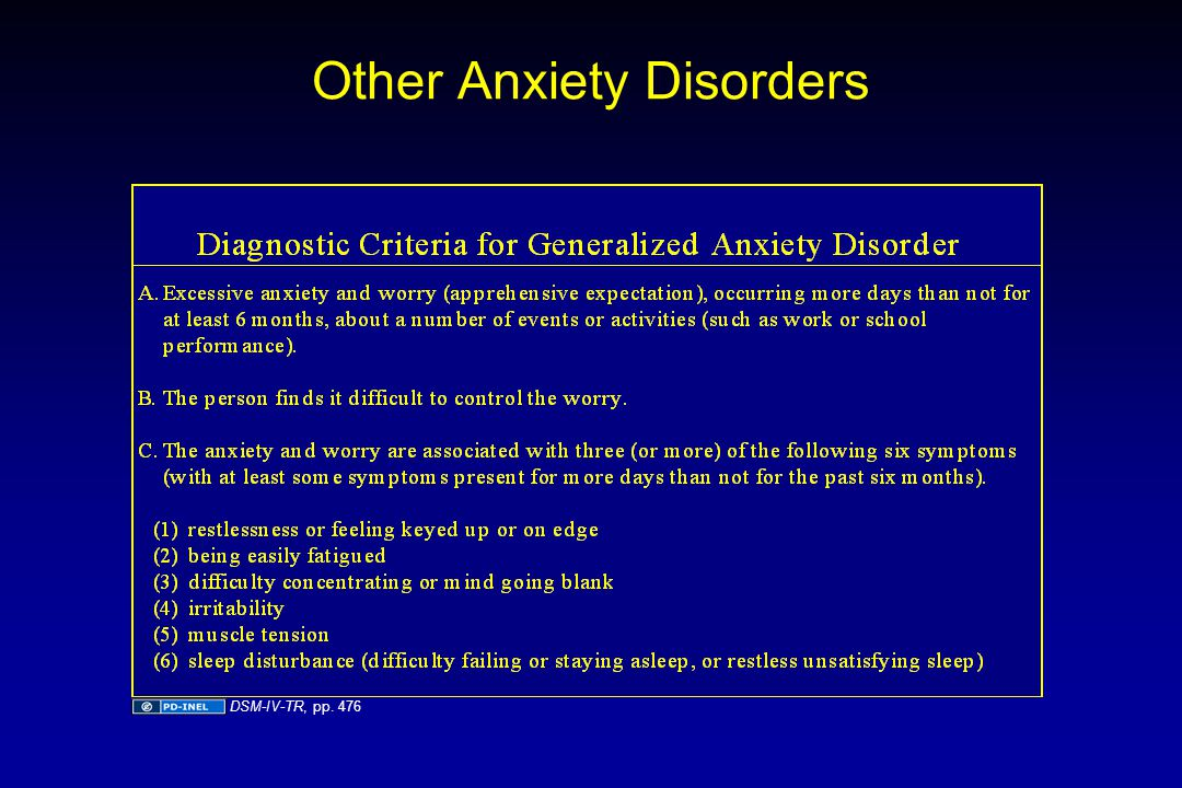 Other Anxiety Disorders DSM-IV-TR, pp. 476