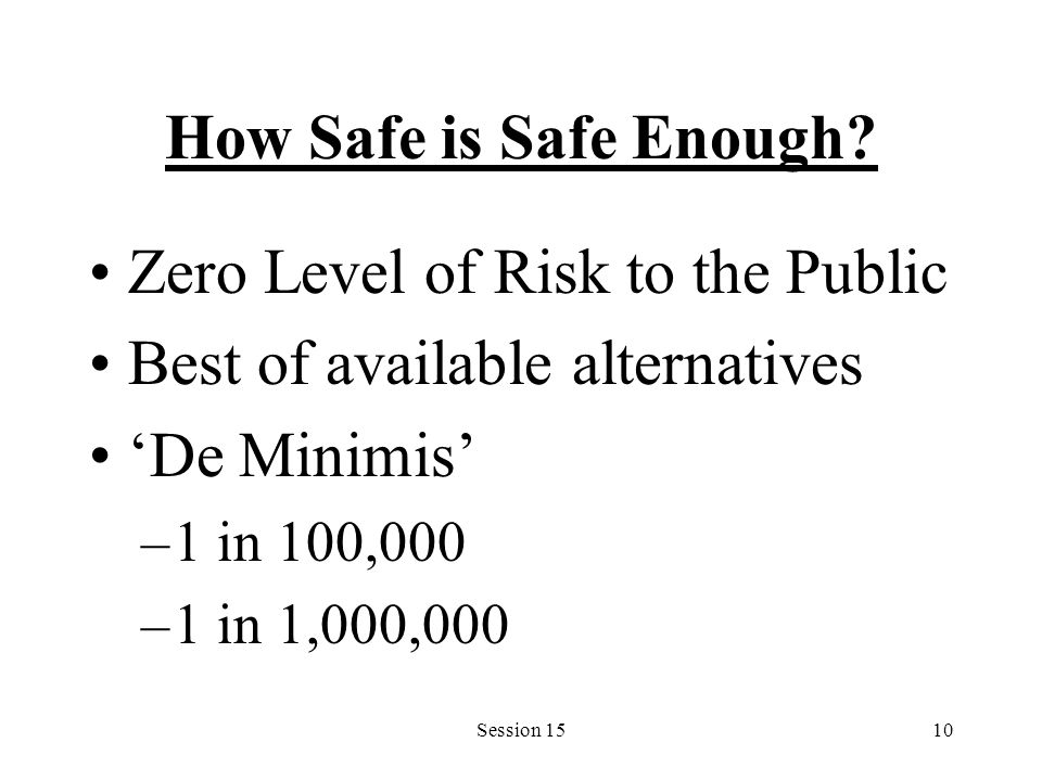 Session 1510 How Safe is Safe Enough? Zero Level of Risk to the Public Best of available alternatives 'De Minimis' –1 in 100,000 –1 in 1,000,000