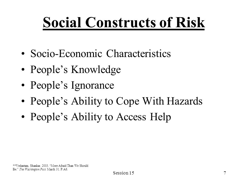 Session 157 Social Constructs of Risk Socio-Economic Characteristics People's Knowledge People's Ignorance People's Ability to Cope With Hazards Peopl