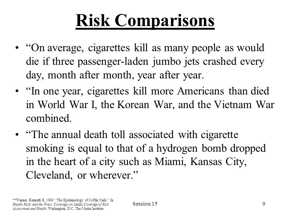"Session 159 Risk Comparisons ""On average, cigarettes kill as many people as would die if three passenger-laden jumbo jets crashed every day, month aft"