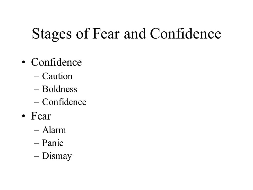 Stages of Fear and Confidence Confidence –Caution –Boldness –Confidence Fear –Alarm –Panic –Dismay