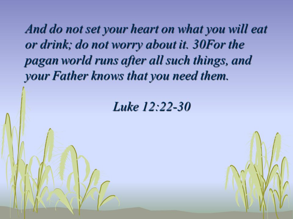 And do not set your heart on what you will eat or drink; do not worry about it. 30For the pagan world runs after all such things, and your Father know