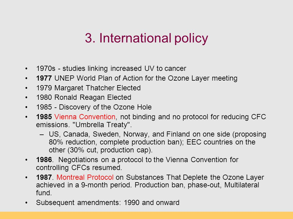 3. International policy 1970s - studies linking increased UV to cancer 1977 UNEP World Plan of Action for the Ozone Layer meeting 1979Margaret Thatche