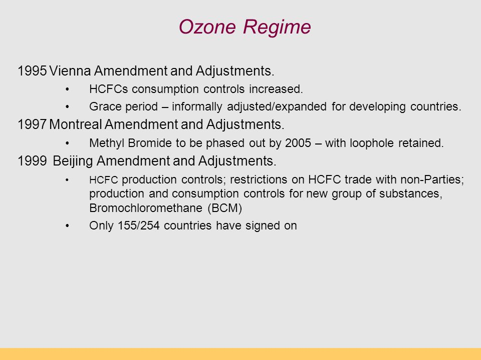 Ozone Regime 1995Vienna Amendment and Adjustments.