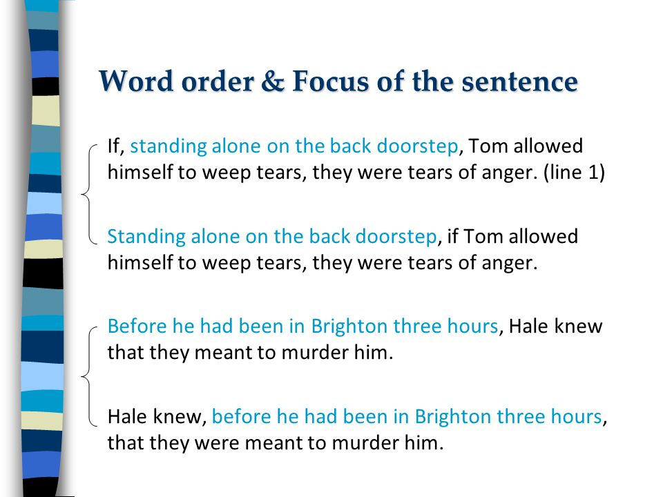 Word order & Focus of the sentence If, standing alone on the back doorstep, Tom allowed himself to weep tears, they were tears of anger.