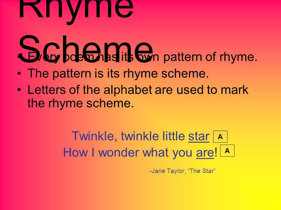 Rhyme Scheme Every poem has its own pattern of rhyme.