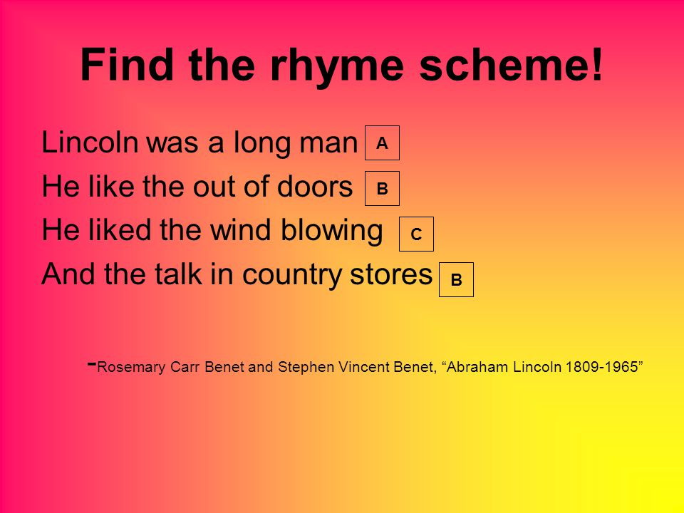 Find the rhyme scheme.