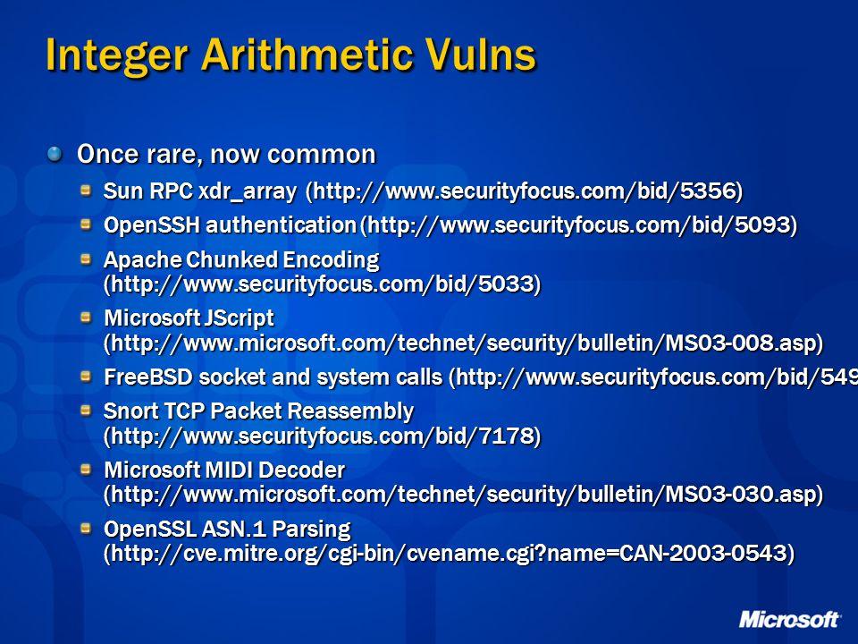Integer Arithmetic Vulns Once rare, now common Sun RPC xdr_array (http://www.securityfocus.com/bid/5356) OpenSSH authentication (http://www.securityfo