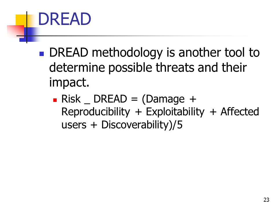 DREAD DREAD methodology is another tool to determine possible threats and their impact. Risk _ DREAD = (Damage + Reproducibility + Exploitability + Af