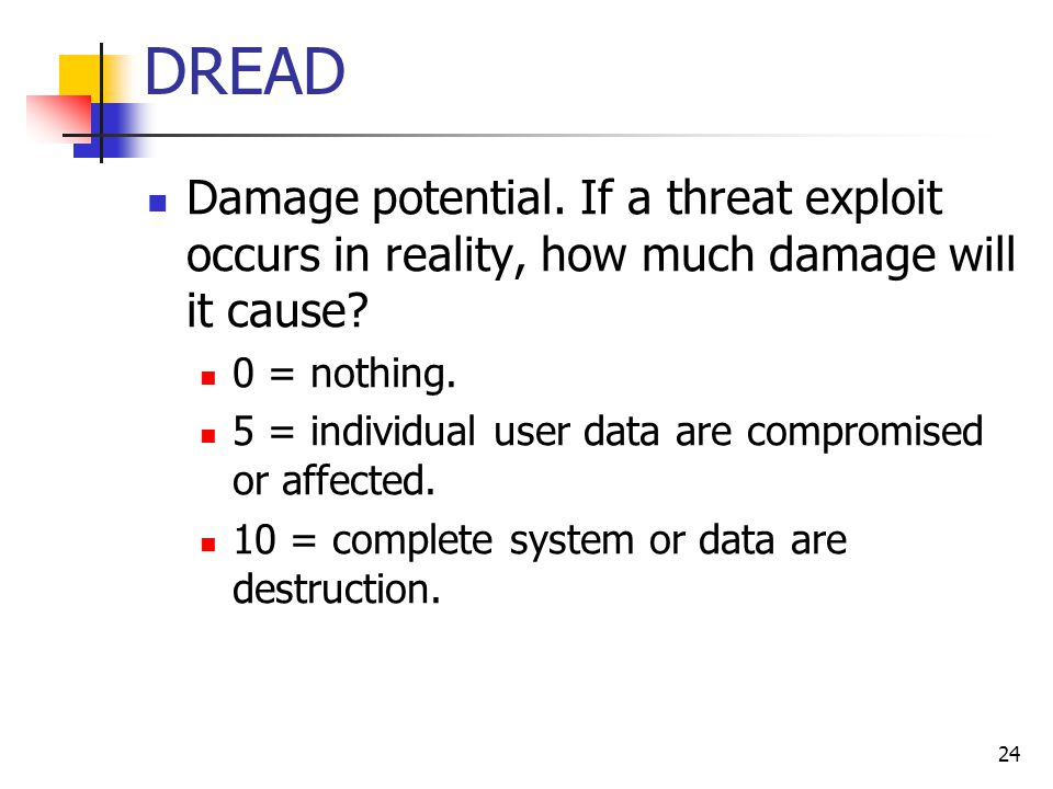 DREAD Damage potential. If a threat exploit occurs in reality, how much damage will it cause? 0 = nothing. 5 = individual user data are compromised or