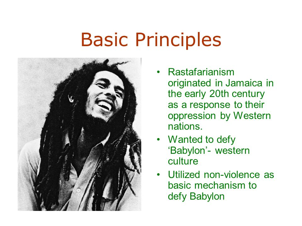 Basic Principles Rastafarianism originated in Jamaica in the early 20th century as a response to their oppression by Western nations. Wanted to defy '