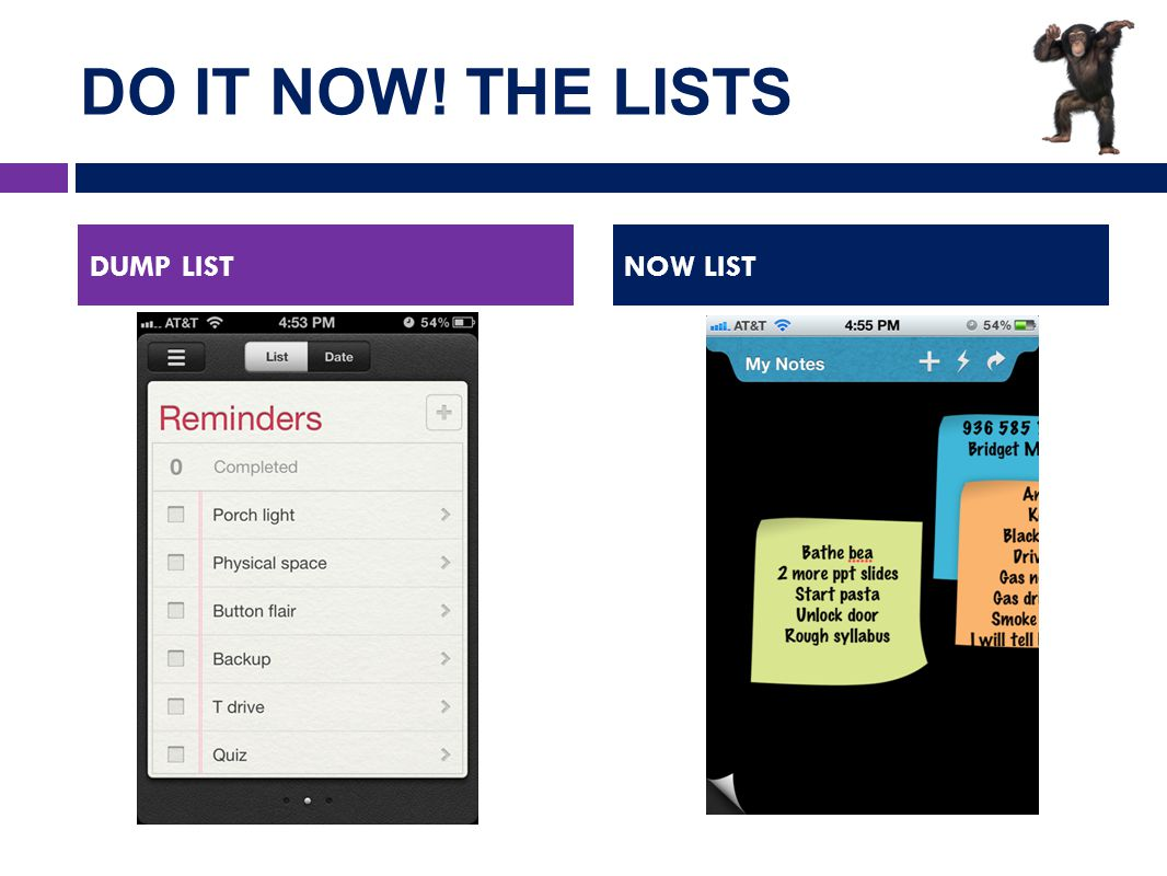 DO IT NOW! THE LISTS DUMP LISTNOW LIST