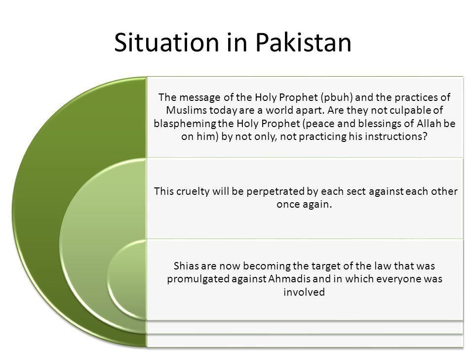 Situation in Pakistan The message of the Holy Prophet (pbuh) and the practices of Muslims today are a world apart.