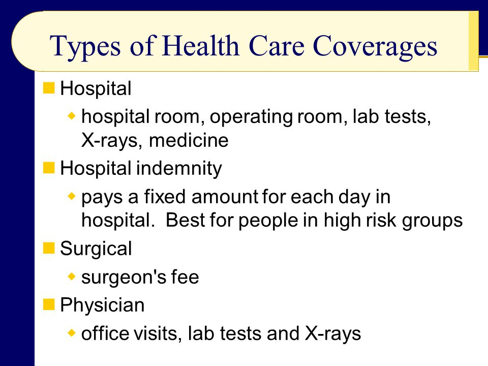 Types of Health Care Coverages Hospital  hospital room, operating room, lab tests, X-rays, medicine Hospital indemnity  pays a fixed amount for each day in hospital.