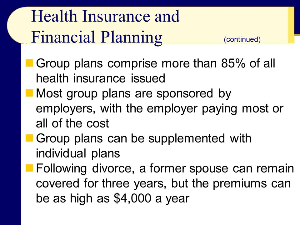Health Insurance and Financial Planning Group plans comprise more than 85% of all health insurance issued Most group plans are sponsored by employers, with the employer paying most or all of the cost Group plans can be supplemented with individual plans Following divorce, a former spouse can remain covered for three years, but the premiums can be as high as $4,000 a year (continued)