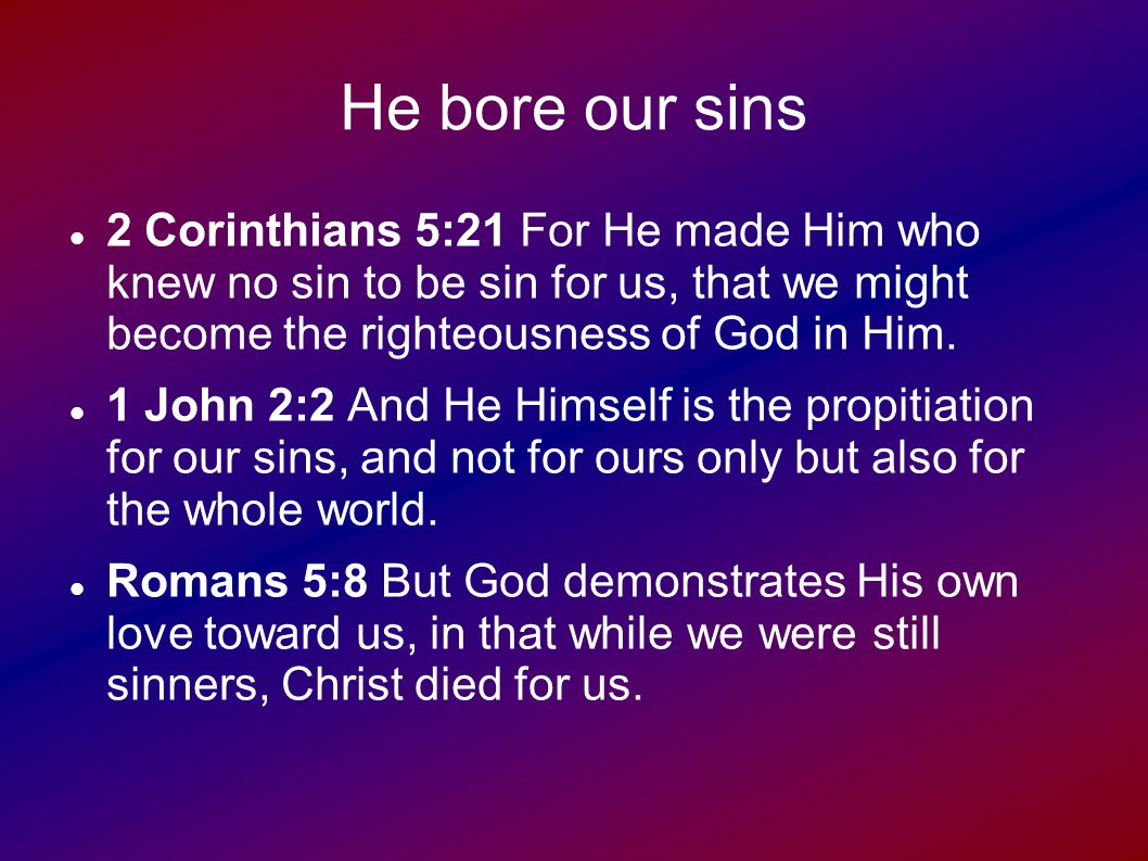 He bore our sins What made His death so terrible is the burden of sin.