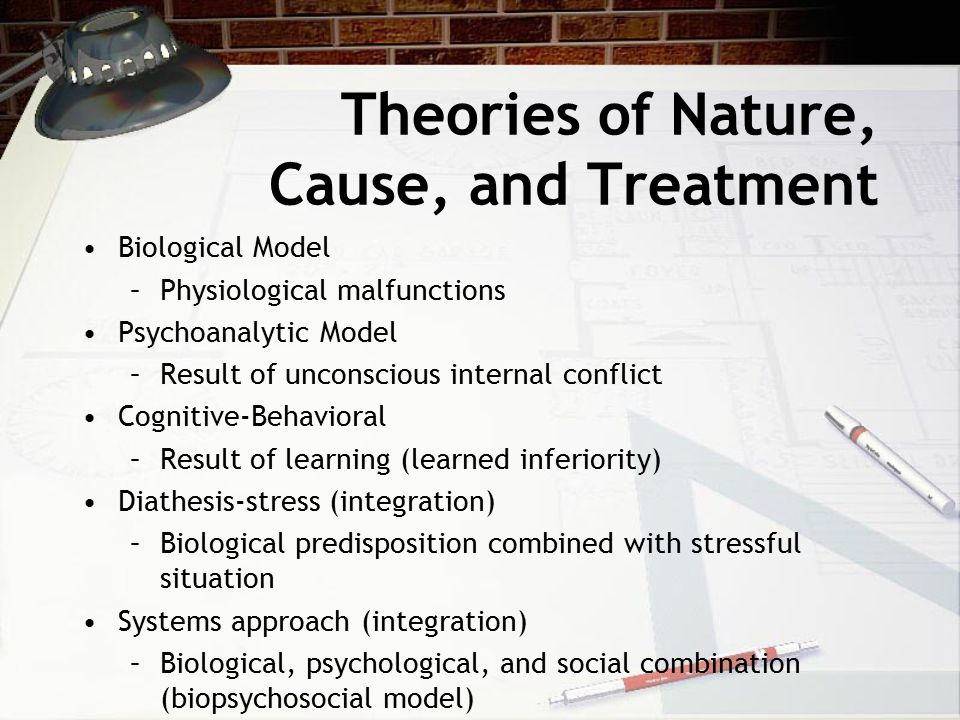 Theories of Nature, Cause, and Treatment Biological Model –Physiological malfunctions Psychoanalytic Model –Result of unconscious internal conflict Cognitive-Behavioral –Result of learning (learned inferiority) Diathesis-stress (integration) –Biological predisposition combined with stressful situation Systems approach (integration) –Biological, psychological, and social combination (biopsychosocial model)
