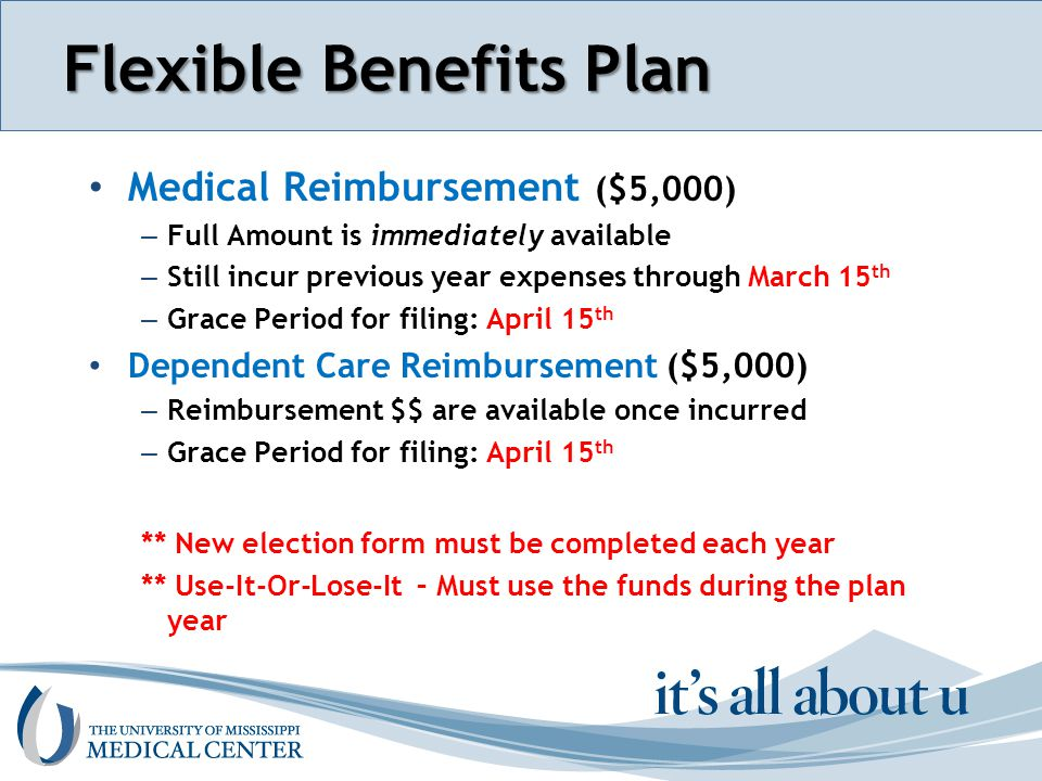 Section name here Flexible Benefits Plan Medical Reimbursement ($5,000) – Full Amount is immediately available – Still incur previous year expenses through March 15 th – Grace Period for filing: April 15 th Dependent Care Reimbursement ($5,000) – Reimbursement $$ are available once incurred – Grace Period for filing: April 15 th ** New election form must be completed each year ** Use-It-Or-Lose-It – Must use the funds during the plan year
