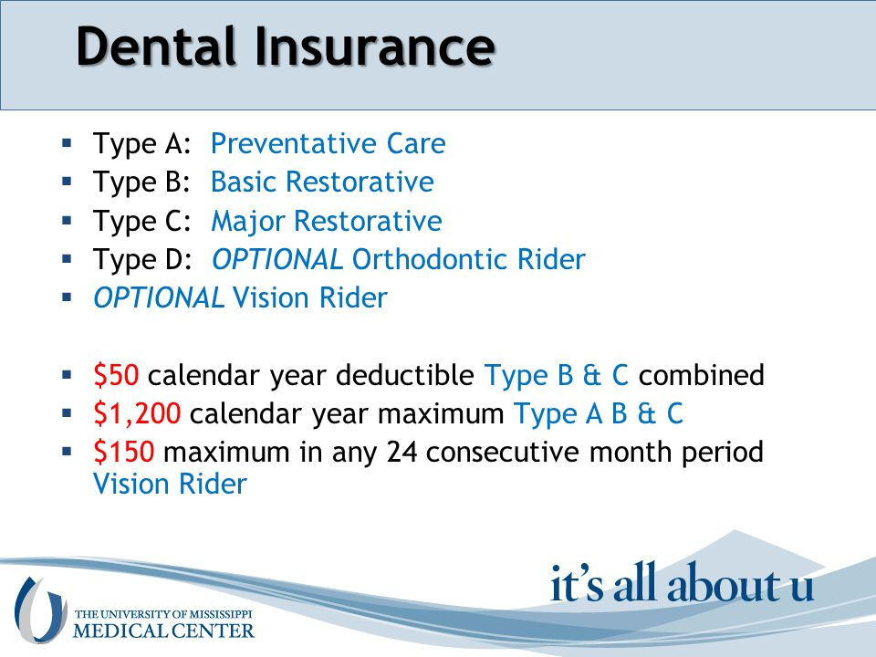 Section name here Dental Insurance  Type A: Preventative Care  Type B: Basic Restorative  Type C: Major Restorative  Type D: OPTIONAL Orthodontic Rider  OPTIONAL Vision Rider  $50 calendar year deductible Type B & C combined  $1,200 calendar year maximum Type A B & C  $150 maximum in any 24 consecutive month period Vision Rider