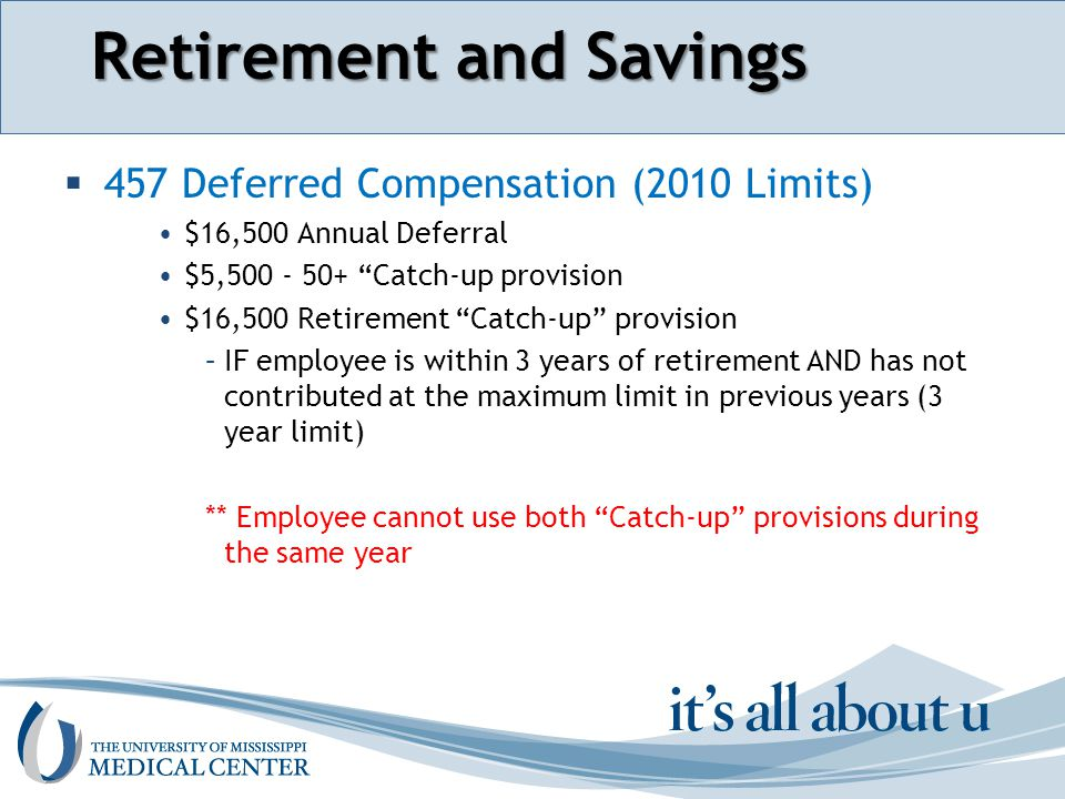 Section name here Retirement and Savings  457 Deferred Compensation (2010 Limits) $16,500 Annual Deferral $5,500 - 50+ Catch-up provision $16,500 Retirement Catch-up provision –IF employee is within 3 years of retirement AND has not contributed at the maximum limit in previous years (3 year limit) ** Employee cannot use both Catch-up provisions during the same year