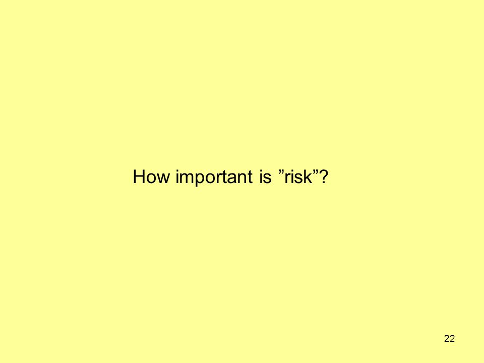 22 How important is risk