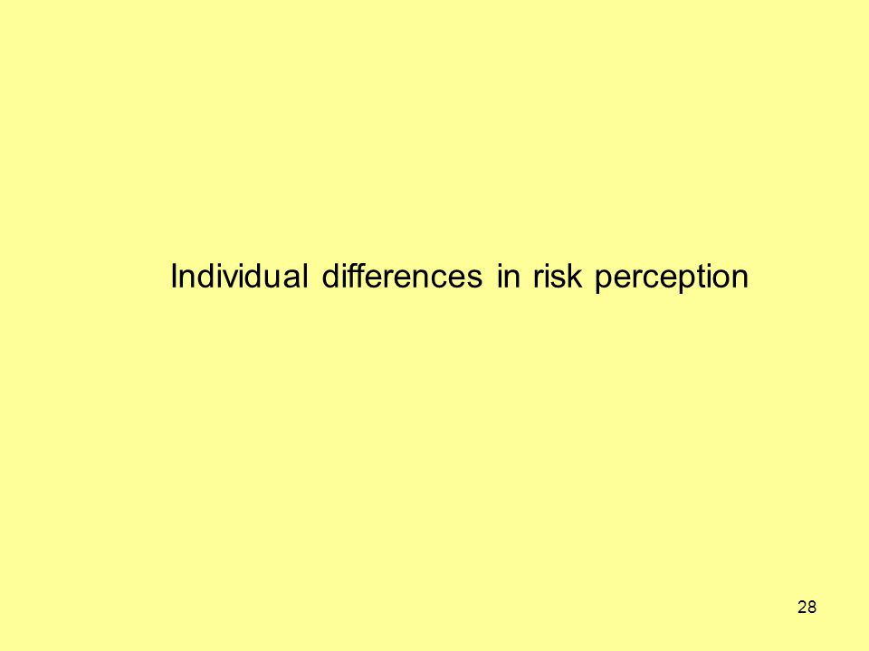 28 Individual differences in risk perception
