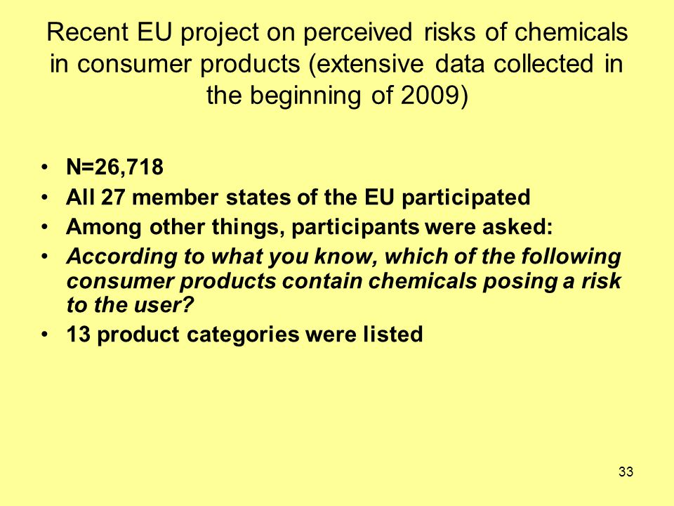 33 Recent EU project on perceived risks of chemicals in consumer products (extensive data collected in the beginning of 2009) N=26,718 All 27 member states of the EU participated Among other things, participants were asked: According to what you know, which of the following consumer products contain chemicals posing a risk to the user.