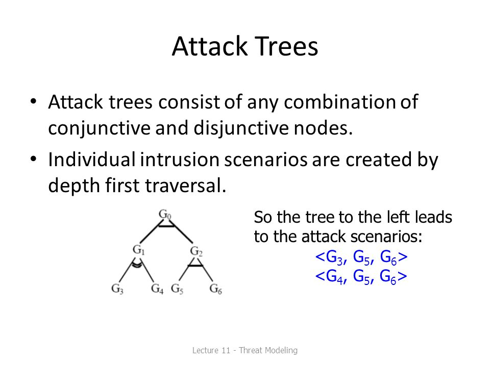 Attack Trees Attack trees consist of any combination of conjunctive and disjunctive nodes. Individual intrusion scenarios are created by depth first t